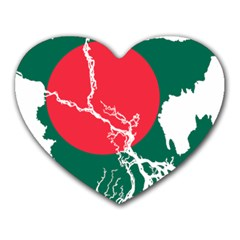 Flag Map Of Bangladesh Heart Mousepads by abbeyz71