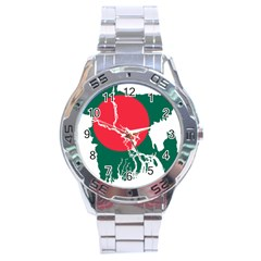 Flag Map Of Bangladesh Stainless Steel Analogue Watch