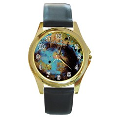 Blue Options 5 Round Gold Metal Watch by bestdesignintheworld