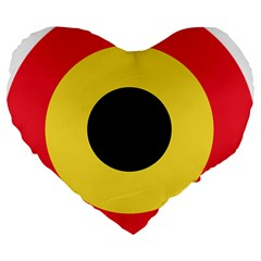 Roundel Of Belgian Air Force Large 19  Premium Heart Shape Cushions by abbeyz71