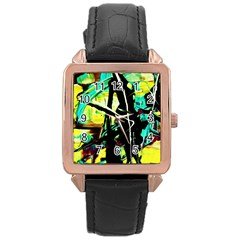 Dance Of Oil Towers 5 Rose Gold Leather Watch