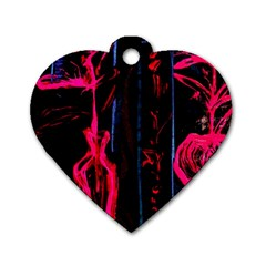 Calligraphy Dog Tag Heart (one Side)
