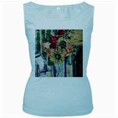 Sunflowers And Lamp Women s Baby Blue Tank Top