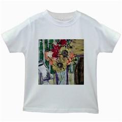 Sunflowers And Lamp Kids White T Shirts