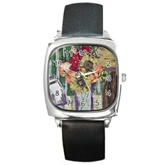 Sunflowers And Lamp Square Metal Watch