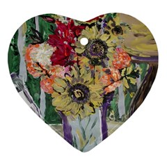 Sunflowers And Lamp Heart Ornament (two Sides)