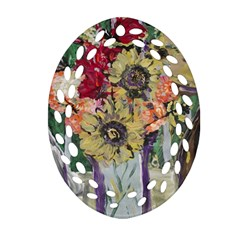 Sunflowers And Lamp Ornament (oval Filigree)