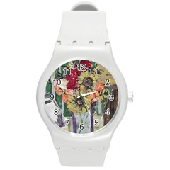 Sunflowers And Lamp Round Plastic Sport Watch (m)