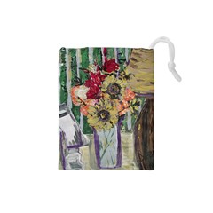 Sunflowers And Lamp Drawstring Pouches (small)