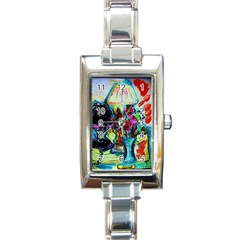 Still Life With Two Lamps Rectangle Italian Charm Watch