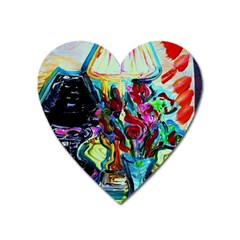 Still Life With Two Lamps Heart Magnet