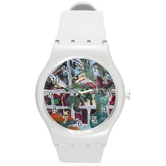 Still Life With Tangerines And Pine Brunch Round Plastic Sport Watch (m)