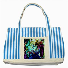 Old Light And New Light Striped Blue Tote Bag by bestdesignintheworld