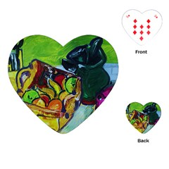Still Life With A Pig Bank Playing Cards (heart)  by bestdesignintheworld