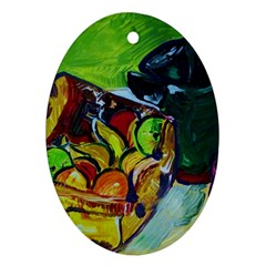 Still Life With A Pig Bank Oval Ornament (two Sides)