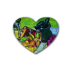 Still Life With A Pig Bank Heart Coaster (4 Pack)