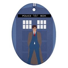 Tenth Doctor And His Tardis Ornament (oval)