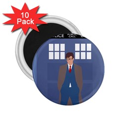 Tenth Doctor And His Tardis 2 25  Magnets (10 Pack)