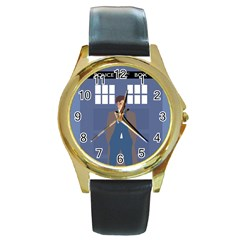 Tenth Doctor And His Tardis Round Gold Metal Watch