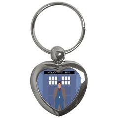 Tenth Doctor And His Tardis Key Chains (heart)  by Samandel