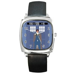 Tenth Doctor And His Tardis Square Metal Watch