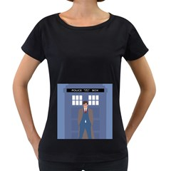 Tenth Doctor And His Tardis Women s Loose Fit T Shirt (black)