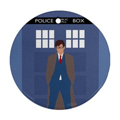 Tenth Doctor And His Tardis Round Ornament (two Sides)