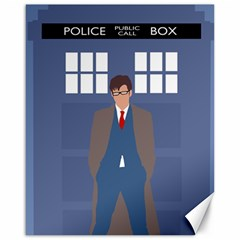 Tenth Doctor And His Tardis Canvas 16  X 20