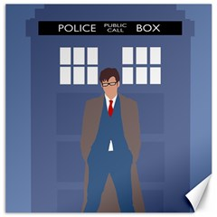 Tenth Doctor And His Tardis Canvas 20  X 20