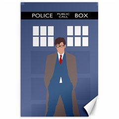 Tenth Doctor And His Tardis Canvas 20  X 30   by Samandel