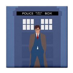 Tenth Doctor And His Tardis Face Towel