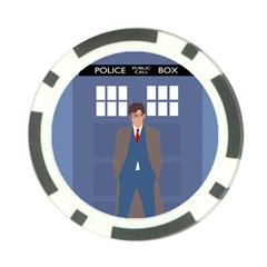 Tenth Doctor And His Tardis Poker Chip Card Guard (10 Pack)