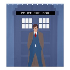 Tenth Doctor And His Tardis Shower Curtain 66  X 72  (large)