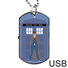 Tenth Doctor And His Tardis Dog Tag Usb Flash (two Sides) by Samandel