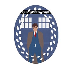 Tenth Doctor And His Tardis Oval Filigree Ornament (two Sides)