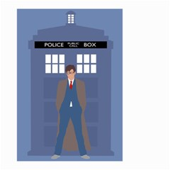 Tenth Doctor And His Tardis Small Garden Flag (two Sides)