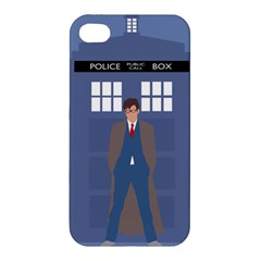 Tenth Doctor And His Tardis Apple Iphone 4/4s Premium Hardshell Case by Samandel