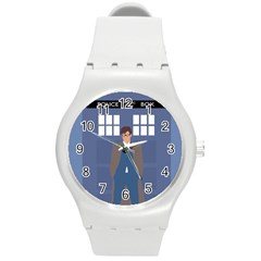 Tenth Doctor And His Tardis Round Plastic Sport Watch (m)