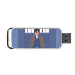 Tenth Doctor And His Tardis Portable Usb Flash (one Side) by Samandel