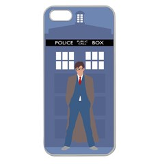 Tenth Doctor And His Tardis Apple Seamless Iphone 5 Case (clear) by Samandel