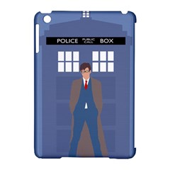 Tenth Doctor And His Tardis Apple Ipad Mini Hardshell Case (compatible With Smart Cover)