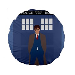Tenth Doctor And His Tardis Standard 15  Premium Round Cushions