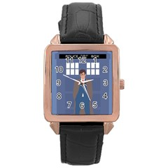 Tenth Doctor And His Tardis Rose Gold Leather Watch