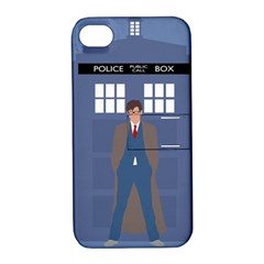 Tenth Doctor And His Tardis Apple Iphone 4/4s Hardshell Case With Stand by Samandel