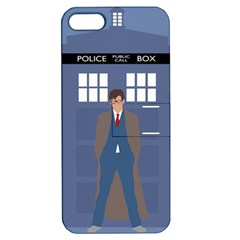 Tenth Doctor And His Tardis Apple Iphone 5 Hardshell Case With Stand