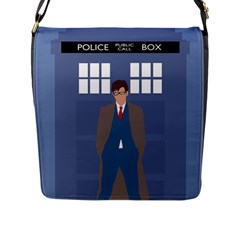 Tenth Doctor And His Tardis Flap Messenger Bag (l)