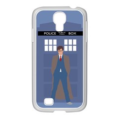 Tenth Doctor And His Tardis Samsung Galaxy S4 I9500/ I9505 Case (white)