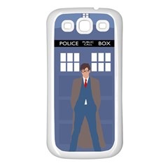 Tenth Doctor And His Tardis Samsung Galaxy S3 Back Case (white)