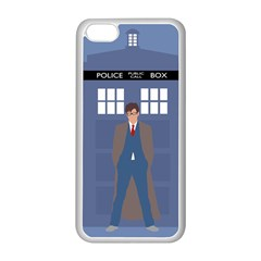 Tenth Doctor And His Tardis Apple Iphone 5c Seamless Case (white)