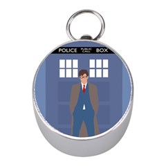 Tenth Doctor And His Tardis Mini Silver Compasses